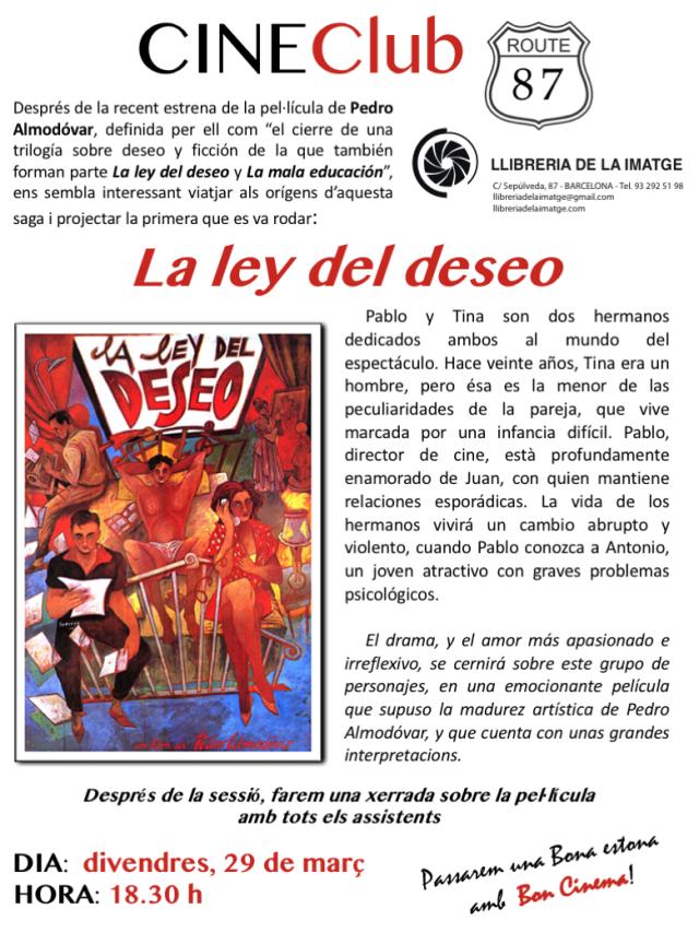 CINECLUB LA LEY DEL DESEO